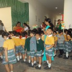 school children with flag