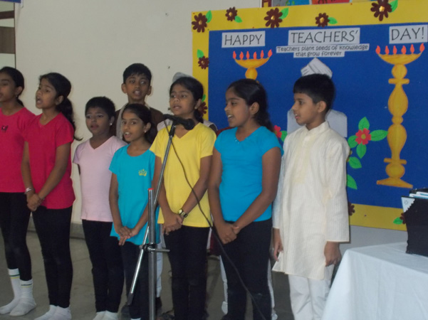sing a group song - Teachers Day Celebration